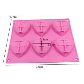 Geometric Heart Silicone Mold (6 cavity)