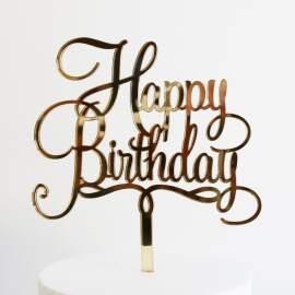 "Acrylic Cake Toppers ""HAPPY BIRTHDAY"" (Golden) 10pcs"