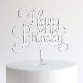 """Acrylic Cake Toppers """"HAPPY BIRTHDAY"""" (Silver)"""