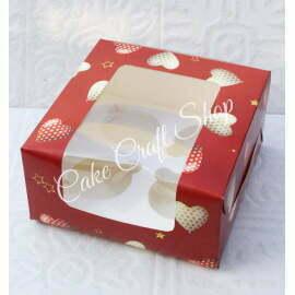 Cupcake Box 4 Cavity Valentines Heart Print (6Pcs)