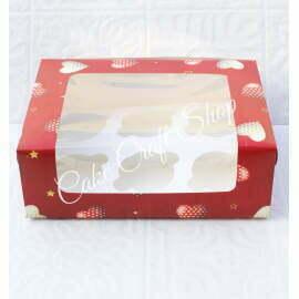 Cupcake Box 6 Cavity Valentines Heart Print (6Pcs)