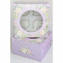 Cupcake Box 4 Cavity Lilac Floral (6pcs)