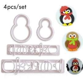4pcs Penguin Fondant Cutter Set
